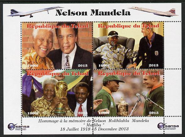 Chad 2013 Nelson Mandela #5 perf sheetlet containing four values unmounted mint. Note this item is privately produced and is offered purely on its thematic appeal. with Concorde in border