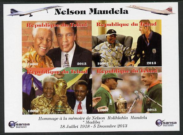 Chad 2013 Nelson Mandela #5 imperf sheetlet containing four values unmounted mint. Note this item is privately produced and is offered purely on its thematic appeal. with Concorde in border