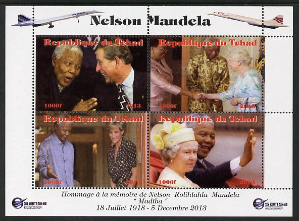 Chad 2013 Nelson Mandela #6 perf sheetlet containing four values unmounted mint. Note this item is privately produced and is offered purely on its thematic appeal. with Concorde in border