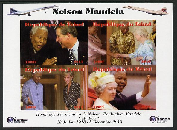 Chad 2013 Nelson Mandela #6 imperf sheetlet containing four values unmounted mint. Note this item is privately produced and is offered purely on its thematic appeal. with Concorde in border