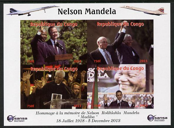 Congo 2013 Nelson Mandela #5 imperf sheetlet containing four values with Concorde in border unmounted mint. Note this item is privately produced and is offered purely on its thematic appeal.