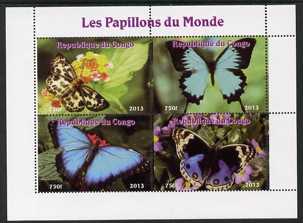 Congo 2013 Butterflies of the World #4 perf sheetlet containing four values unmounted mint. Note this item is privately produced and is offered purely on its thematic appeal