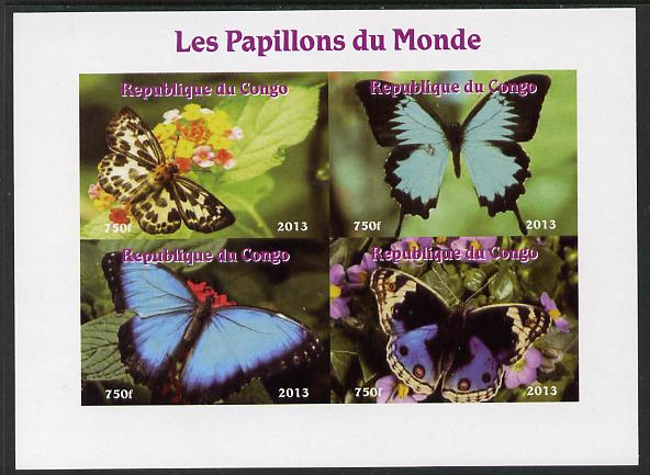 Congo 2013 Butterflies of the World #4 imperf sheetlet containing four values unmounted mint. Note this item is privately produced and is offered purely on its thematic appeal