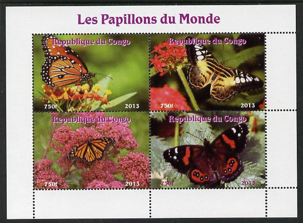Congo 2013 Butterflies of the World #5 perf sheetlet containing four values unmounted mint. Note this item is privately produced and is offered purely on its thematic appeal