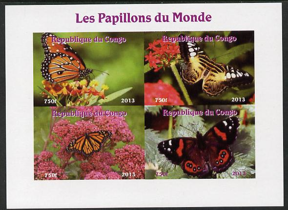 Congo 2013 Butterflies of the World #5 imperf sheetlet containing four values unmounted mint. Note this item is privately produced and is offered purely on its thematic appeal