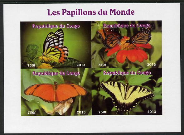 Congo 2013 Butterflies of the World #6 imperf sheetlet containing four values unmounted mint. Note this item is privately produced and is offered purely on its thematic appeal