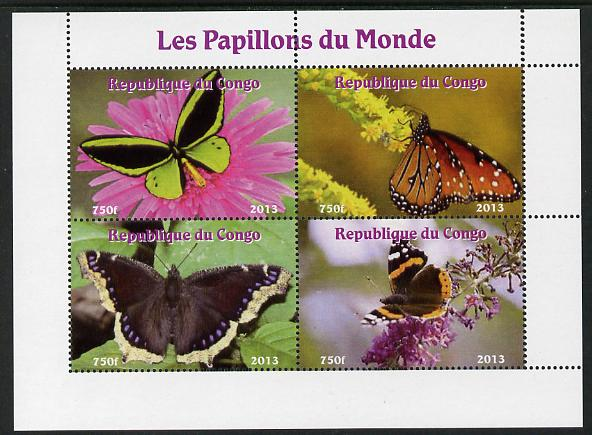 Congo 2013 Butterflies of the World #7 perf sheetlet containing four values unmounted mint. Note this item is privately produced and is offered purely on its thematic appeal