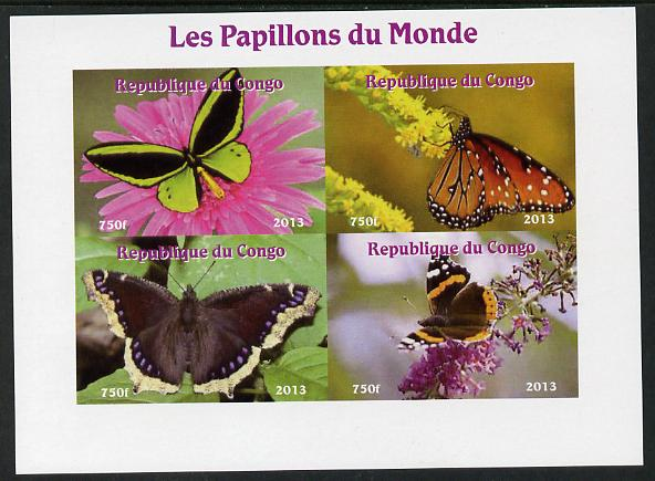 Congo 2013 Butterflies of the World #7 imperf sheetlet containing four values unmounted mint. Note this item is privately produced and is offered purely on its thematic appeal