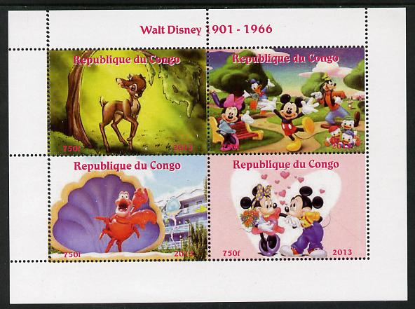 Congo 2013 Walt Disney Characters #1 perf sheetlet containing four values unmounted mint. Note this item is privately produced and is offered purely on its thematic appeal
