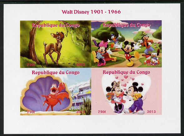 Congo 2013 Walt Disney Characters #1 imperf sheetlet containing four values unmounted mint. Note this item is privately produced and is offered purely on its thematic appeal