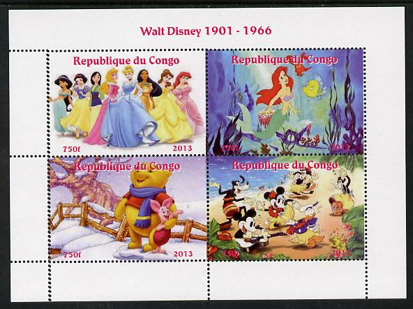Congo 2013 Walt Disney Characters #2 perf sheetlet containing four values unmounted mint. Note this item is privately produced and is offered purely on its thematic appeal