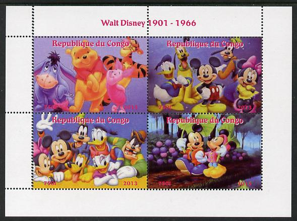 Congo 2013 Walt Disney Characters #3 perf sheetlet containing four values unmounted mint. Note this item is privately produced and is offered purely on its thematic appeal