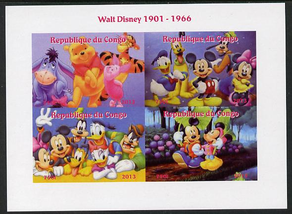 Congo 2013 Walt Disney Characters #3 imperf sheetlet containing four values unmounted mint. Note this item is privately produced and is offered purely on its thematic appeal