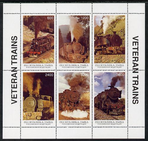 Touva 1996 Steam Locos sheetlet containing complete set of 6 values unmounted mint