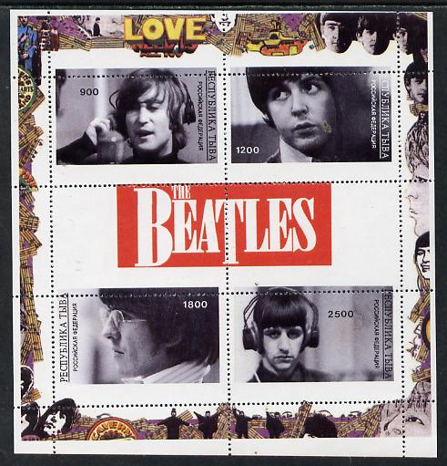 Touva 1996 The Beatles perf sheetlet containing 4 values & 2 labels with perforations misplaced unmounted mint