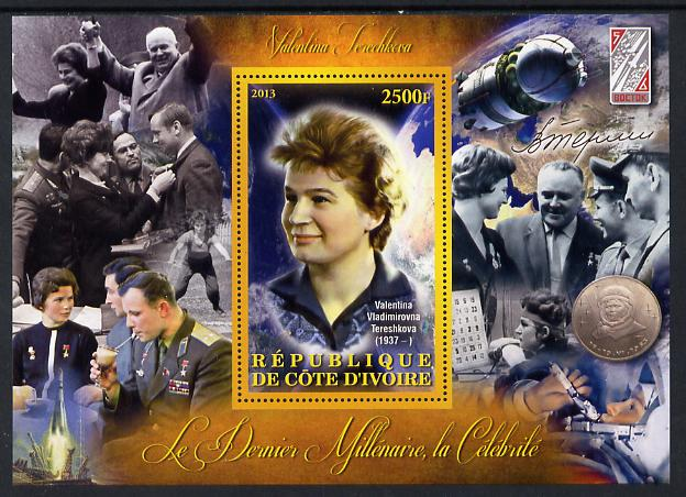 Ivory Coast 2013 Celebrities of the last Millennium - Valentina Tereshkova (first woman in Space) perf deluxe sheet containing one rectangular value unmounted mint