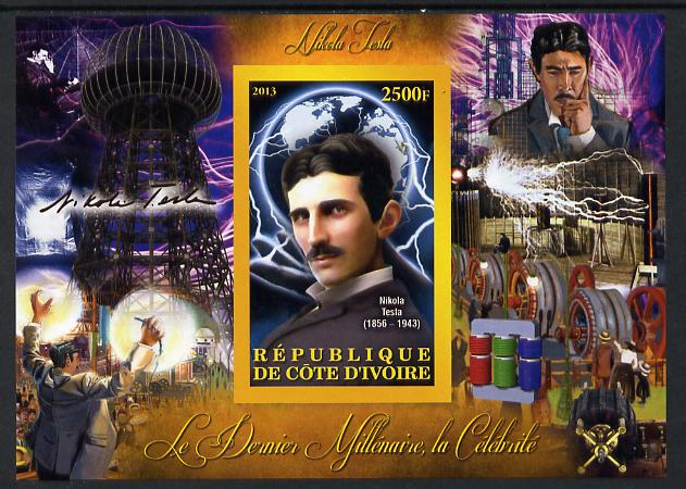 Ivory Coast 2013 Celebrities of the last Millennium - Nikola Tesla imperf deluxe sheet containing one rectangular value unmounted mint