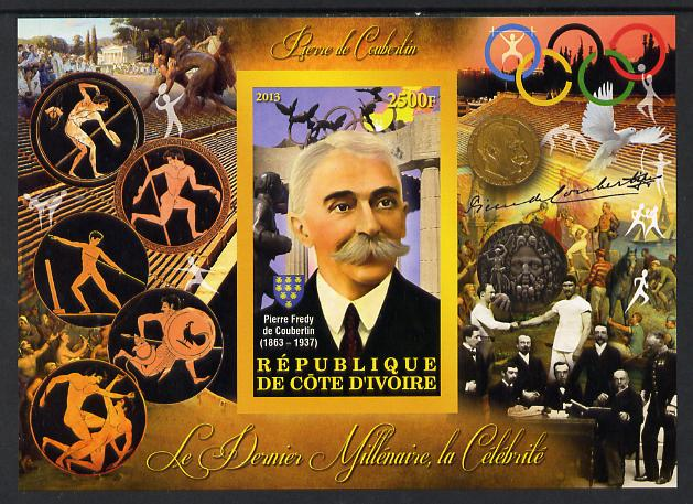 Ivory Coast 2013 Celebrities of the last Millennium - Pierre de Coubertin imperf deluxe sheet containing one rectangular value unmounted mint