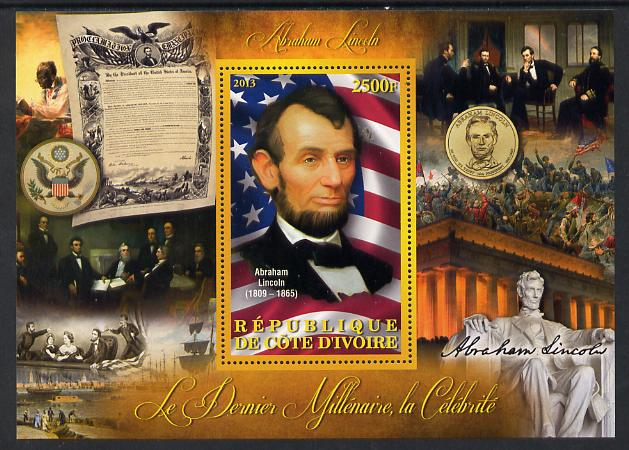 Ivory Coast 2013 Celebrities of the last Millennium - Abraham Lincoln perf deluxe sheet containing one rectangular value unmounted mint