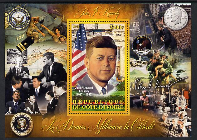 Ivory Coast 2013 Celebrities of the last Millennium - John F Kennedy perf deluxe sheet containing one rectangular value unmounted mint