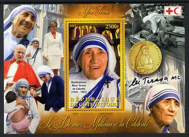 Ivory Coast 2013 Celebrities of the last Millennium - Mother Teresa perf deluxe sheet containing one rectangular value unmounted mint