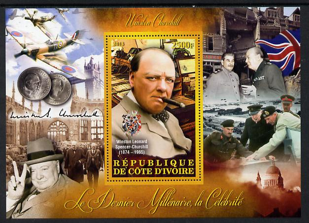 Ivory Coast 2013 Celebrities of the last Millennium - Winston Churchill perf deluxe sheet containing one rectangular value unmounted mint