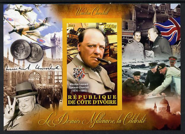 Ivory Coast 2013 Celebrities of the last Millennium - Winston Churchill imperf deluxe sheet containing one rectangular value unmounted mint