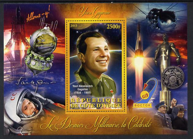 Ivory Coast 2013 Celebrities of the last Millennium - Yuro Gagarin perf deluxe sheet containing one rectangular value unmounted mint, stamps on personalities, stamps on space, stamps on rockets, stamps on