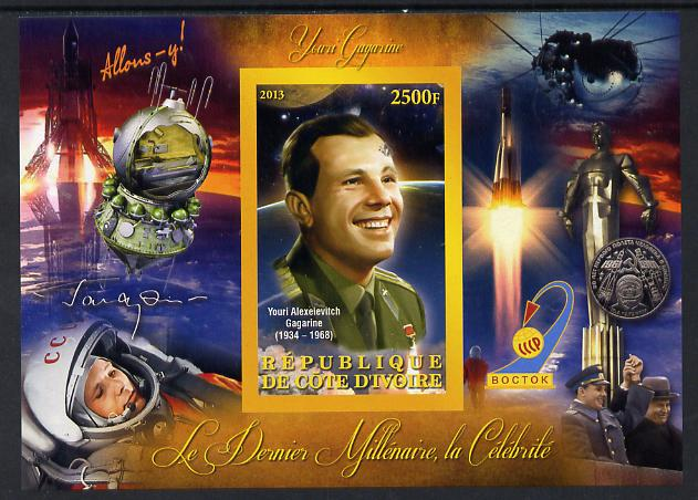 Ivory Coast 2013 Celebrities of the last Millennium - Yuro Gagarin imperf deluxe sheet containing one rectangular value unmounted mint