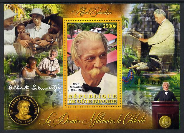 Ivory Coast 2013 Celebrities of the last Millennium - Albert Schweitzer perf deluxe sheet containing one rectangular value unmounted mint
