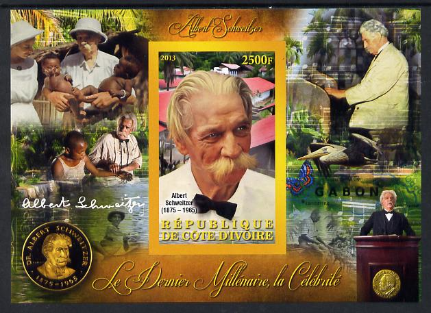 Ivory Coast 2013 Celebrities of the last Millennium - Albert Schweitzer imperf deluxe sheet containing one rectangular value unmounted mint
