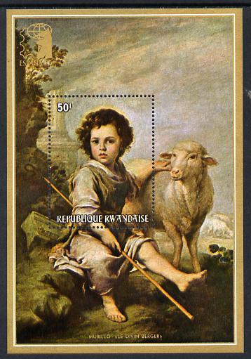 Rwanda 1975 Espana 75 Stamp Exhibition perf m/sheet (Divine Shepherd by Murillo) unmounted mint SG MS 641c