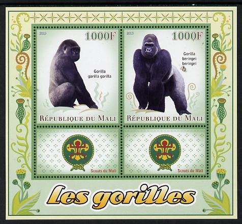 Mali 2013 Gorillas perf sheetlet containing two values & two labels showing Scouts Badge unmounted mint