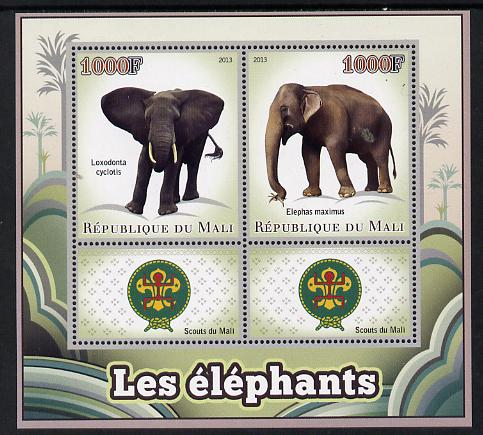 Mali 2013 Elephants perf sheetlet containing two values & two labels showing Scouts Badge unmounted mint