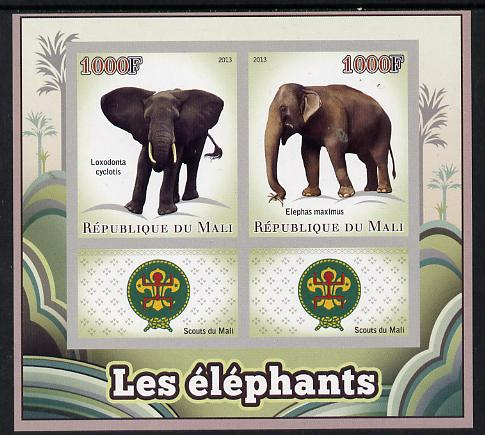 Mali 2013 Elephants imperf sheetlet containing two values & two labels showing Scouts Badge unmounted mint