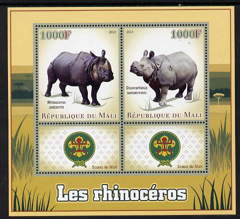 Mali 2013 Rhinos perf sheetlet containing two values & two labels showing Scouts Badge unmounted mint