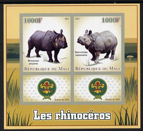 Mali 2013 Rhinos imperf sheetlet containing two values & two labels showing Scouts Badge unmounted mint