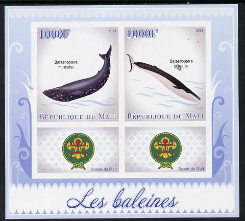 Mali 2013 Whales imperf sheetlet containing two values & two labels showing Scouts Badge unmounted mint