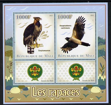 Mali 2013 Birds of Prey perf sheetlet containing two values & two labels showing Scouts Badge unmounted mint