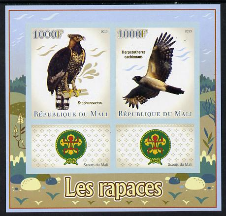 Mali 2013 Birds of Prey imperf sheetlet containing two values & two labels showing Scouts Badge unmounted mint