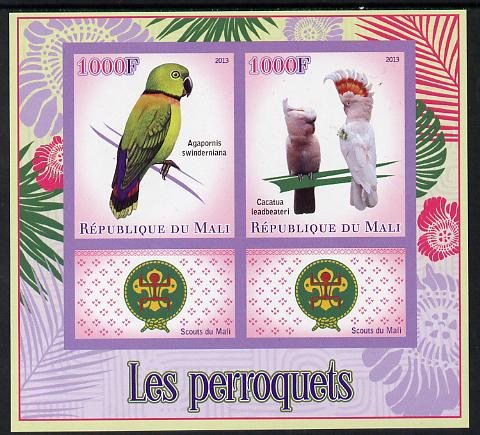 Mali 2013 Parrots imperf sheetlet containing two values & two labels showing Scouts Badge unmounted mint