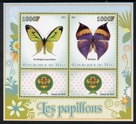 Mali 2013 Butterflies perf sheetlet containing two values & two labels showing Scouts Badge unmounted mint