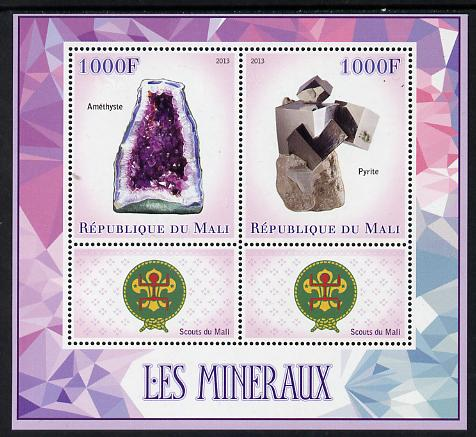 Mali 2013 Minerals #2 perf sheetlet containing two values & two labels showing Scouts Badge unmounted mint