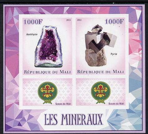 Mali 2013 Minerals #2 imperf sheetlet containing two values & two labels showing Scouts Badge unmounted mint