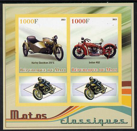 Mali 2013 Classic Motorcycles imperf sheetlet containing two values & two labels unmounted mint