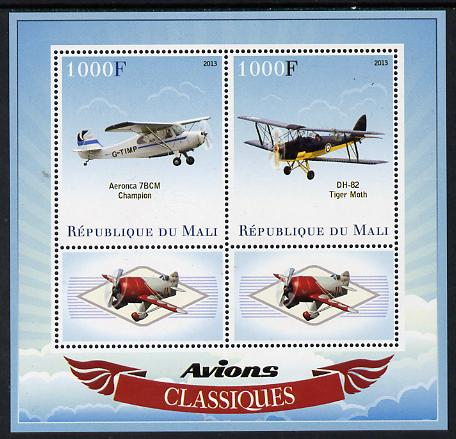 Mali 2013 Classic Airplanes perf sheetlet containing two values & two labels unmounted mint