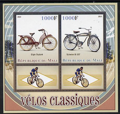 Mali 2013 Classic Bicycles perf sheetlet containing two values & two labels unmounted mint