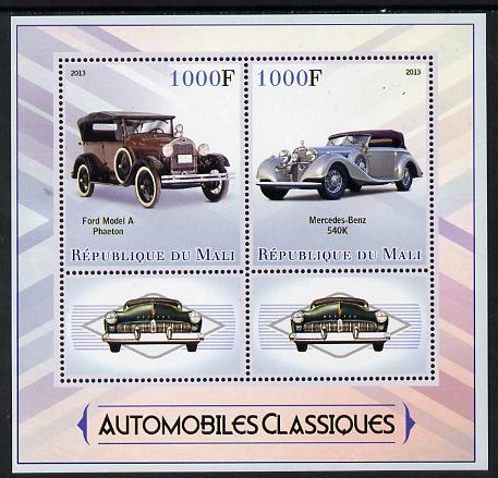 Mali 2013 Classic Cars perf sheetlet containing two values & two labels unmounted mint
