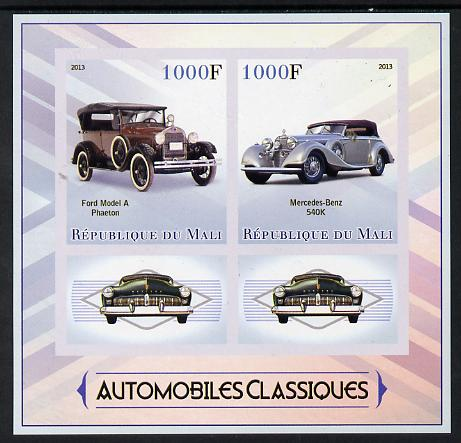 Mali 2013 Classic Cars imperf sheetlet containing two values & two labels unmounted mint