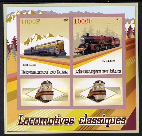 Mali 2013 Classic Locomotives imperf sheetlet containing two values & two labels unmounted mint